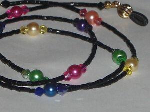 "Eyeglass Chain~Midnight Rainbow~24 Crystals~12 Pearls~NEW~26""~Buy 3 SHIP FREE"