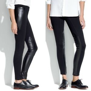 Madewell Black Faux Leather Panels Ankle Zippers Stretch Leggings Pants Womens 4