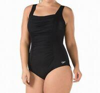 Speedo Women Swimwear Black 20 Plus Hydro-Bra Endurance Shirred Swimsuit $88 602
