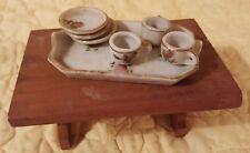 Vintage Miniature Dollhouse 7 pc Porcelain Tea Set w/Wood Table