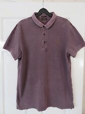 AllSaints Men's Polo Top - Medium - Washed Purple