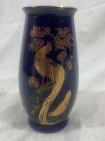 Vintage - Kutani Cobalt Blue Gold Peacock Rooster Vase
