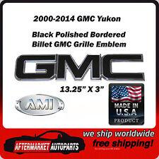 2000-2014 GMC Yukon Black Polished Bordered GMC Front Grille Emblem AMI 96500KP