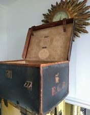 ANTIQUE EDINBURGH TRAVEL TRUNK - OIL CLOTH WITH LEATHER TRIM & STRAPS