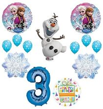 Frozen 3rd Birthday Party Supplies Olaf, Elsa and Anna Balloon Bouquet  Blue #3