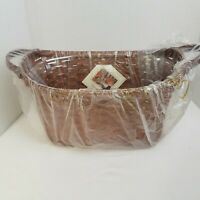 Longaberger Library Basket Deep Brown Leather Ears*NEW*FARMHOUSE*CLASSIC DECOR*