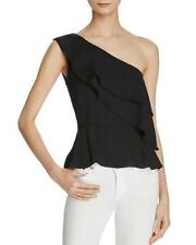NWT NEW Olivaceous Black Ruffled Georgette One Shoulder Top Small al16
