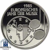 Deutschland 5 DM 1985 Europäisches Jahr der Musik Spiegelglanz in Münzkapsel