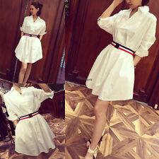 Chic Korean White Women Casual Loose Slim Lapel Sundress Summer Club Shirt Dress