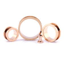 Rose Gold Ear Tunnel Screw-On Metal Ear Flesh Tunnel - 3mm - 30mm