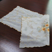 White Vintage Table Runner Embroidered Lace Dresser Scarf 15X33inch
