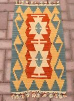 "Cappadocia Hand Knotted Ethnic Wool Kilim Rug Anatolian Vintage Doormat 19""x35"""