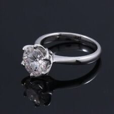 1.55 Ct Solitaire Moissanite Round Cut Engagement Wedding Ring 9K White Gold