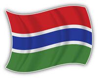 Gambia Waving Flag Car Bumper Sticker Decal 5'' x 4''
