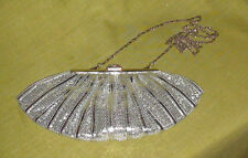 Silvery Sequinned Evening Bag with Diamante Clasp
