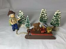 Vintage Christmas Scene Small Bottle Brush Trees Sleigh Boy with Bird Packages +