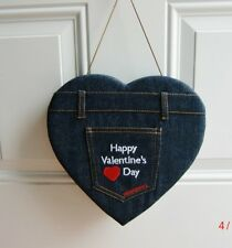 Vintage Denim Jean Heart Shaped Candy Box Valentines Day Embroidered Letters