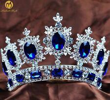 Princess Wedding Tiara Blue Crystal Headband Bridal Pageant Crown Accessories