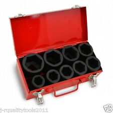 """10 PC 1"""" ONE INCH DRIVE DR DEEP BIG SIZE AIR BLACK IMPACT SOCKET WRENCH TOOL SET"""