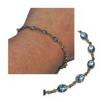 Bracelet en plaqué or 18 carats cristal bleu 18cm bijou