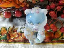 "French Opal sitting bear Hand painted Flowers Fenton Art Glass Figurine ""2005"""