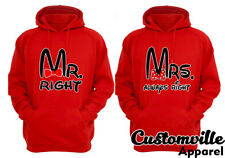Mr. right Mrs. always right Couple matching Hoodies. love Valentines anniversary