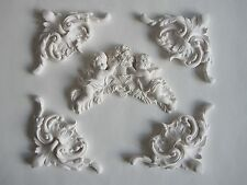 FIVE  DECORATIVE  FRENCH COUNTRY MOULDING/ CHERUB AND FLOWERS/PROJECT