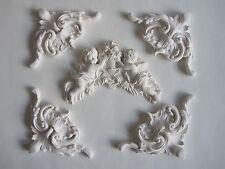 Cinq décoratif français pays moulage/angelot et fleurs/projet