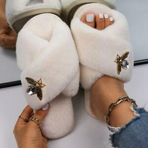 Fluffy Indoor Slippers Crystal Insect Faux Fur Slides Women Designer Home Shoes