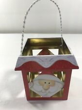 CHRISTMAS SANTA VOTIVE CANDLE HOLDER Tin Hanging Holiday Home Decoration