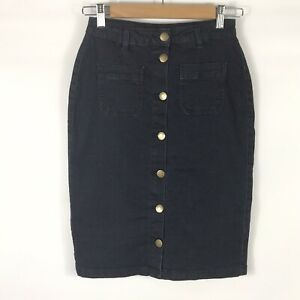 All About Eve Size 8 25 Inch Waist Button Front Denim Skirt