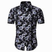 Formal floral men's short sleeve stylish summer t-shirt luxury casual slim fit