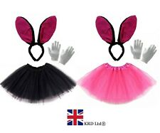 BLACK & PINK EASTER BUNNY COSTUME Fancy Dress Ears Tail Bow Accessory Set UK