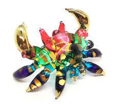 Crab Miniature Hand Blown Clear Glass Figurine Animal Collectible Souvenir Decor