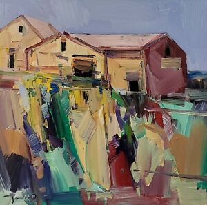 JOSE TRUJILLO Oil Painting IMPRESSIONISM Contemporary COLLECTIBLE HOUSES SIGNED