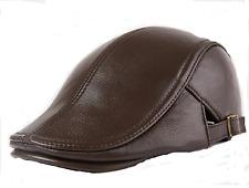Autumn Winter Men's Leather Peaked Cap Hat Brown