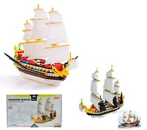 TALL SHIP Micro Mini Diamond Block Sailing Ship Building Set # 66501 - 3000 Pcs