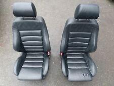 96-02 Audi B5 S4 A4 Black Leather Recaro Front Sport Seats Left Right Pair OEM