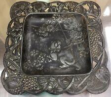 BEAUTIFUL ANTIQUE JAPANESE ART NOUVEAU Pin Tray Flora & Fauna: Wild Tiger/Nature