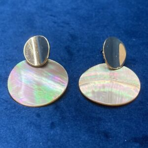 Vintage Retro Earrings Gold Tone Mother of Pearl Circle Drops Butterfly