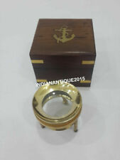 Nautical Brass Chart Map Glass Magnifying Desk Lens Magnifier with Wooden Box