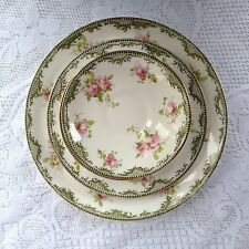 """4 Royal Crown Staffordshire Plates 5, 7 & 9"""" Green/Gold Band Roses 1906-1930/984"""