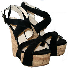 "LADIES BLACK FAUX SUEDE 6"" FAUX CORK WEDGE HEEL STRAPPY SANDAL SIZE 5"