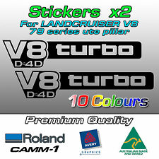 V8 turbo D4D Sticker Decal for Toyota Landcruiser VDJ 79 series (PILLAR - Small)
