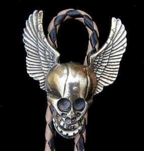 COOL SKULL WITH WINGS BOLO TIE MOTOR CYCLES VINTAGE 1980'S US MADE WESTERN TIE