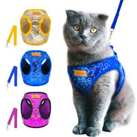 Bling Sequins Cat Dog Harness & Lead Puppy Kitten Walking Harnesses Vest S M L