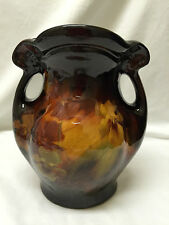 Antique Weller Louwelsa Two Handled Vase With Pansies