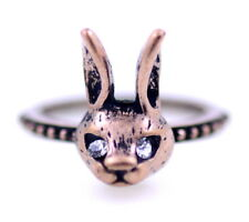 Vintage retro style bronze bunny rabbit ring, UK Size M