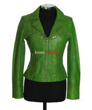 Rachel Ladies Leather Fashion Jacket Lime Green Smart Military Designer Jacket