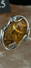 art neuveau Silver And Amber Ring